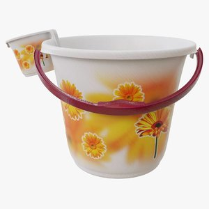 3D model bucket mug set
