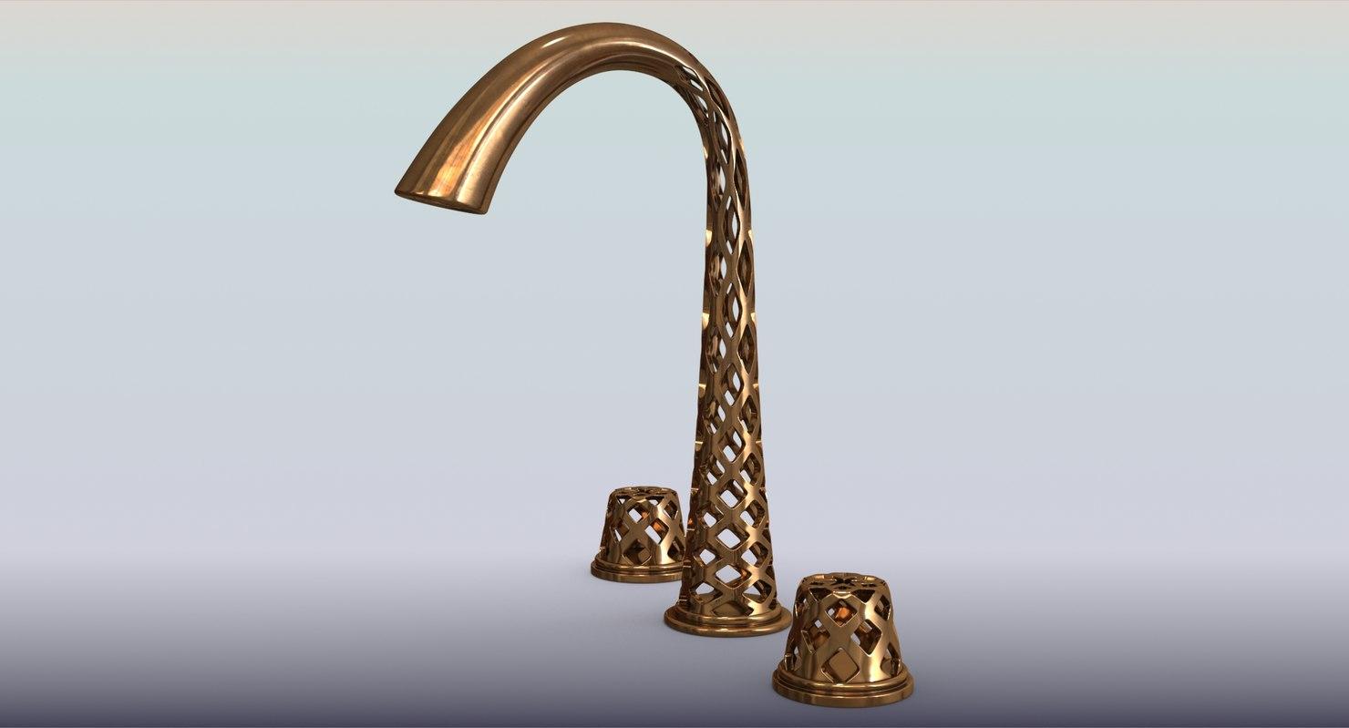 3D model copper faucet printed