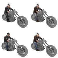 3D pack rigged man biker