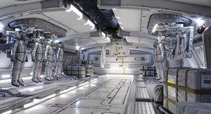 sci fi hall 3D model