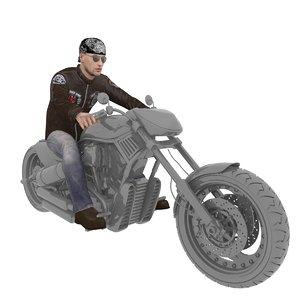 rigged biker 2 3D model