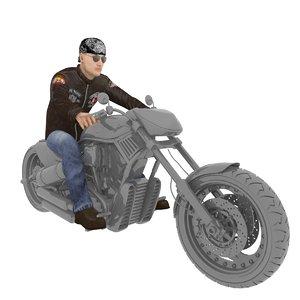 3D model rigged biker