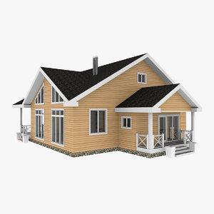 chalet wooden house 3D model