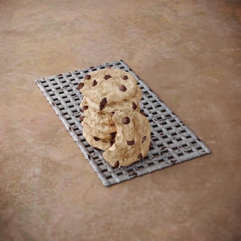 cookies chocolate pieces 3D