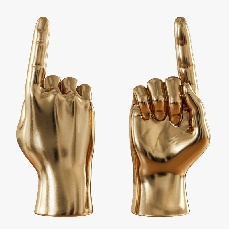 3D gold figurine hand