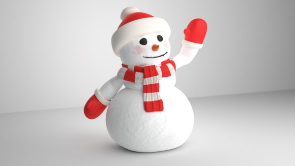 snowman rigged hat 3D model