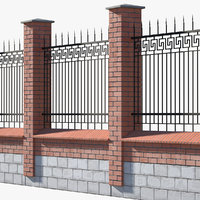 3D brick fence metal