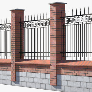 3D brick fence metal