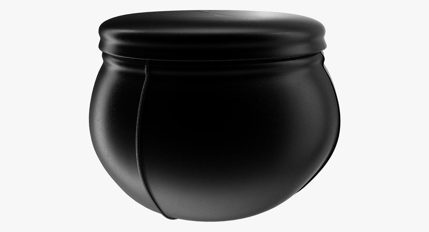 leather pouf 3D
