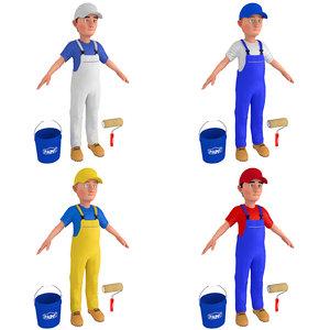 3D cartoon paint worker