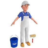 3D cartoon paint worker model
