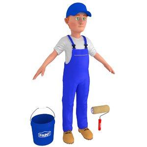 3D cartoon paint worker 2