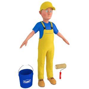 cartoon paint worker 3 3D