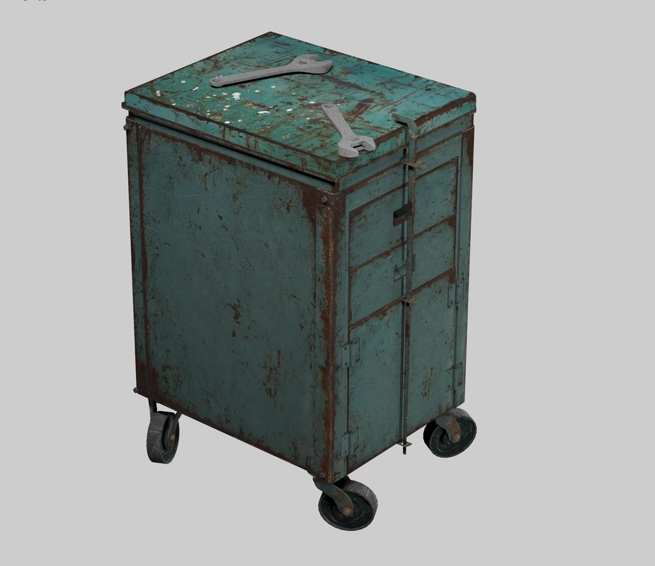 3D rusted old toolbox cabinet model