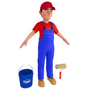 cartoon paint worker 3D model
