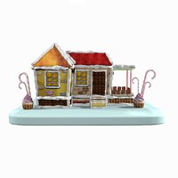 3D sweet candy gingerbread house model