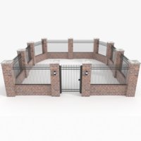 fence brick model