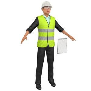 3D female engineer model