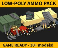 low-poly ammo pack shell model