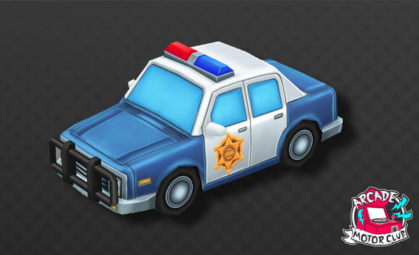 3D model hand painted cartoon police car