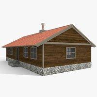 old wood cabin 3D model