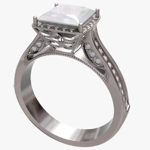 3D engagement diamond ring