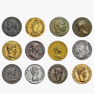 3D ancient roman coins set model