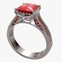 engagement ruby ring 3D model
