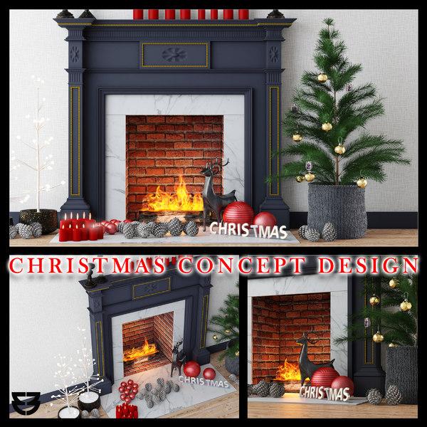3D christmas fireplace concept design model
