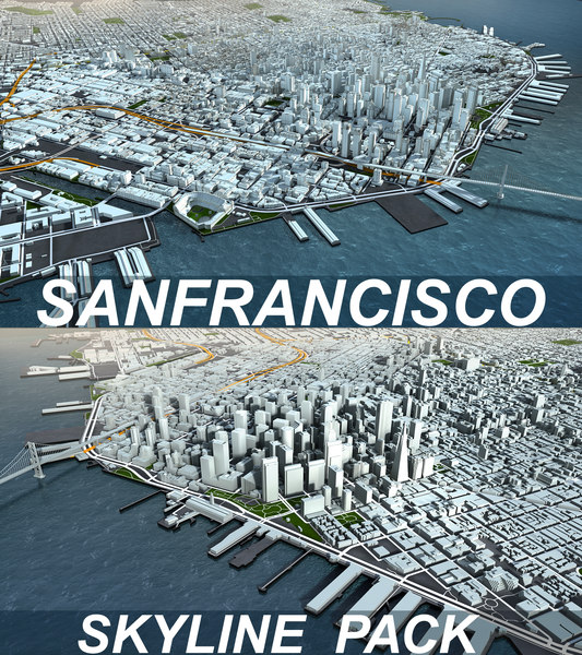 san francisco skyline pack 3D model