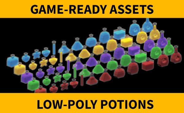 potions pack low-poly 3D model