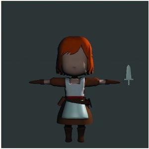 3D model dodo anime girl