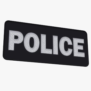 police shield patch embroidered 3D model