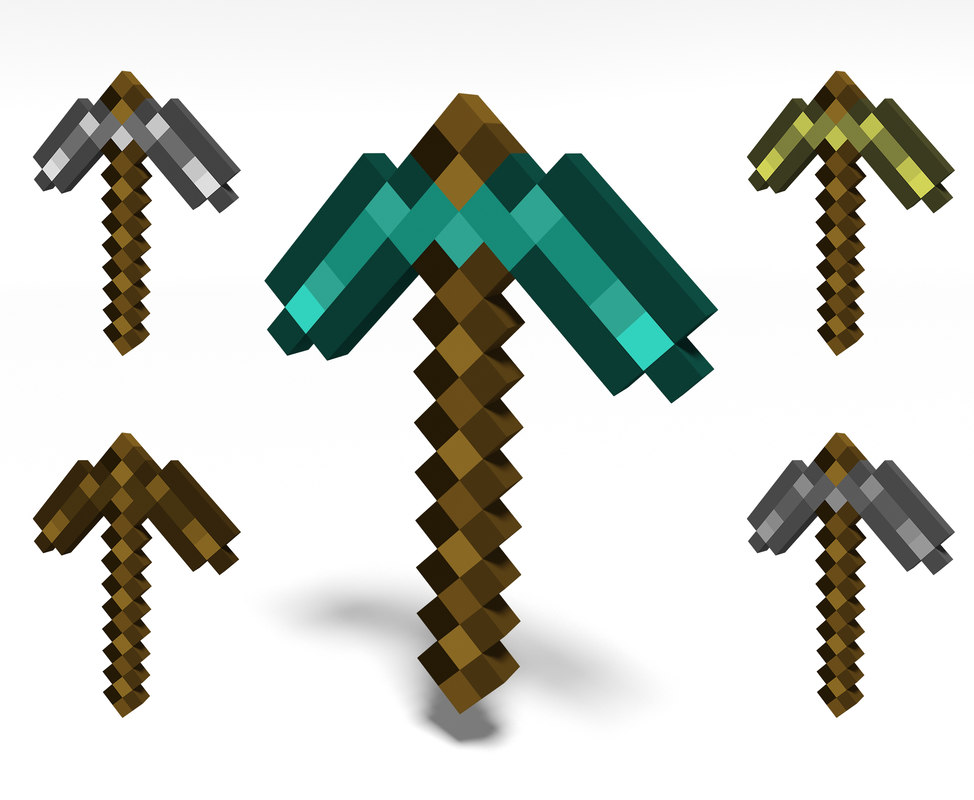 minecraft pickaxe 3D model