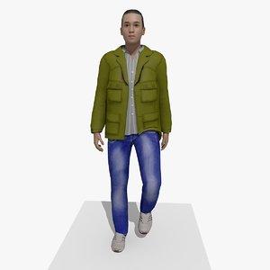 3D model casual walking facial expression