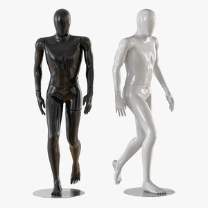 3D faceless walking mannequin model