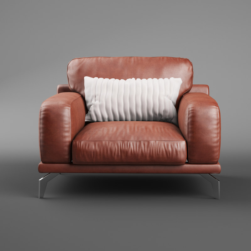 3D peruna leather arm chair model