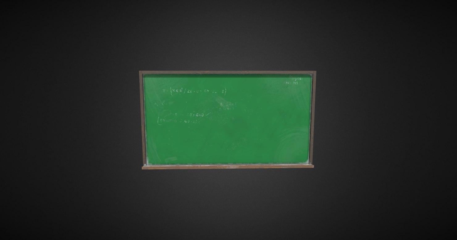 3D green chalkboard 4k pbr
