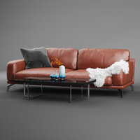 peruna leather seat sofa 3D model