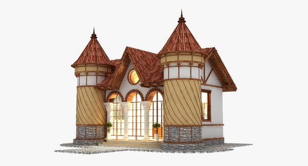 timber medieval house 3D