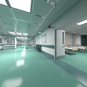 3D hospital ward hallway