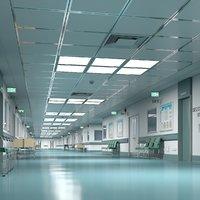 3D model hospital hallway modular