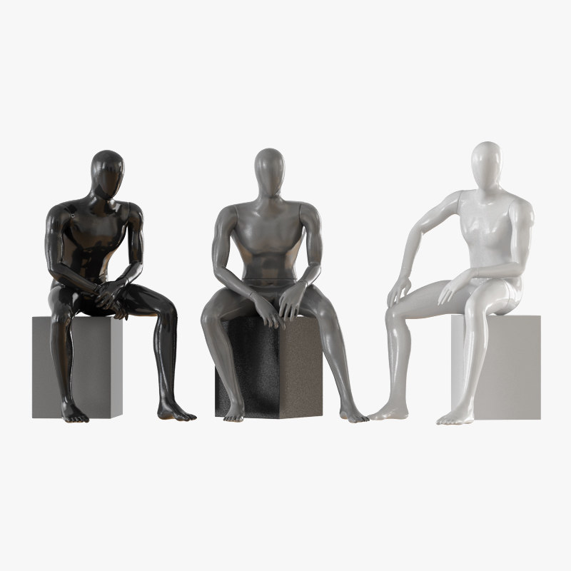 seated faceless mannequins 3D model