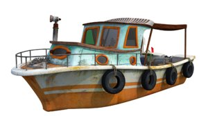 3D model cartoon fisher boat
