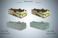 restaurant cartoon tris 3D model