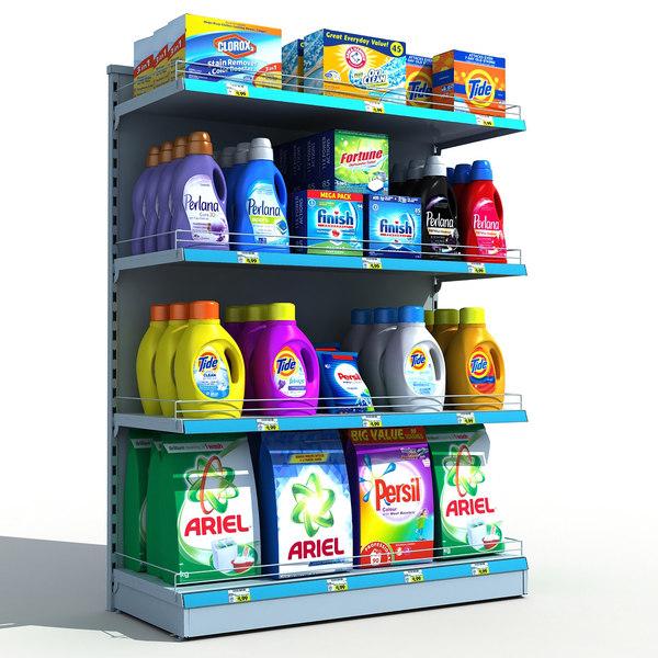 3D model supermarket detergents shelves
