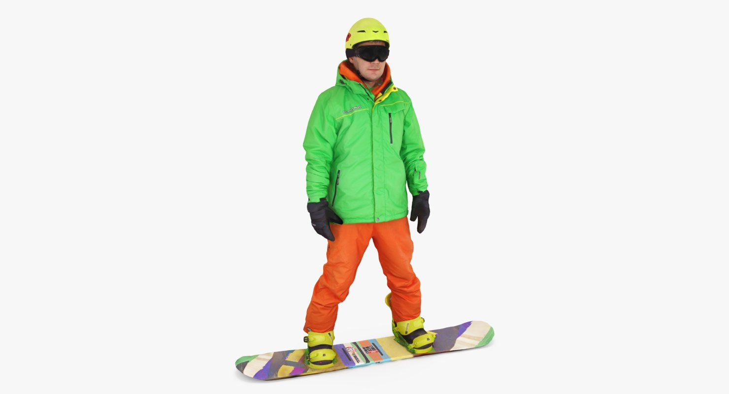 3d model snowboarder people human