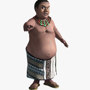 3D cartoon african