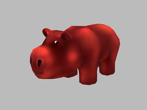 3D model hippopotamus hippo cartoon
