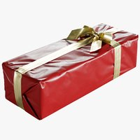 Wrapped Christmas Gift Box With Bow 175x450x125mm